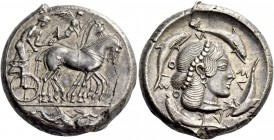 Syracuse. Tetradrachm circa 466-460, AR 17.32 g. Charioteer, holding kentron in r. hand and reins in l., driving slow quadriga r.; above, Nike flying ...