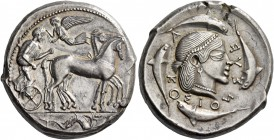 Syracuse. Tetradrachm circa 460-450, AR 17.46 g. Slow quadriga driven r. by charioteer, holding kentron and reins; above, Nike flying l. to crown him;...