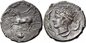 Syracuse. Tetradrachm circa 415-405, AR 16.41 g. Prancing quadriga driven l. by charioteer, holding reins and kentron; above, Nike flying r. to crown ...