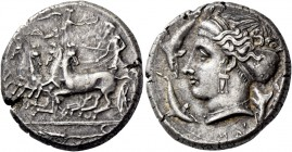 Syracuse. Tetradrachm circa 405-400, AR 17.41 g. Prancing quadriga driven l. by charioteer holding reins and kentron; above, Nike flying r. to crown h...