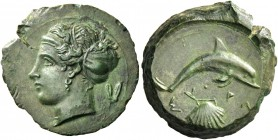 Syracuse. Hemilitra circa 400, Æ 3.30 g. Head of nymph Arethusa l., wearing sphendone; in r. field, olive twig. Rev. ΣY – PA Dolphin r.; below, shell....