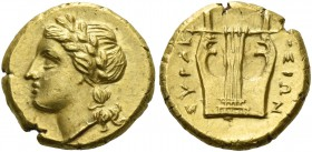 Syracuse. 12 1/2 litrae circa 310-305, EL 1.86 g. Laureate head of Apollo l. Rev. ΣΥΡΑΚ – ΟΣΙΩΝ Five-stringed lyre. SNG Fitzwilliam 1295. SNG ANS 617....