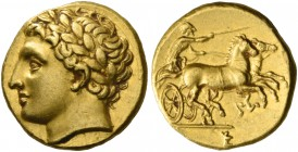 Syracuse. Decadrachm, circa 295-289, AV 2.84 g. Laureate head of Apollo l. Rev. Prancing biga r., driven by charioteer holding kentron and reins; belo...