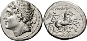 Syracuse. 8 litrae circa 216-215, AR 6.77 g. Diademed head l.; behind, bow. Rev. ΣΥΡΑΚΟΣΙOI – ΓEΛΩNOΣ Fast biga driven r. by Nike, holding reins with ...