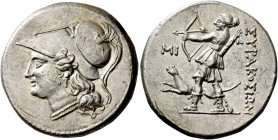 Syracuse. 12 litrae circa 214-212, AR 10.16 g. Head of Athena l., wearing Corinthian helmet, decorated with snake. Rev. ΣYPAKOΣIΩN Artemis as huntress...