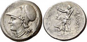 Syracuse. 12 litrae circa 214-212, AR 10.12 g. Head of Athena l., wearing Corinthian helmet decorated with griffin; in r. field, monogram. Rev. ΣYPAKO...
