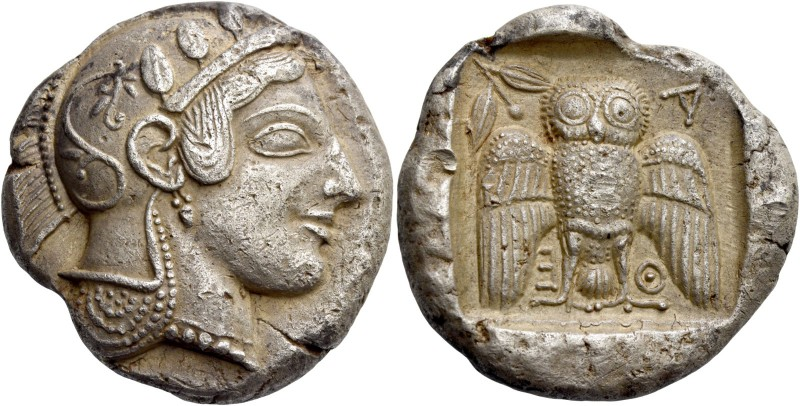 Attica, Athens. Decadrachm circa 467-465, AR 42.53 g. Head of Athena r., wearing...