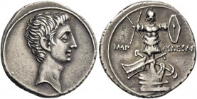 Octavian, 32 – 29 BC. Octavian, 32-27. Denarius, Brundisium and Roma (?) 29-27 BC, AR 3.61 g. Bare head r. Rev. IMP – CAESAR Trophy set on prow; at ba...