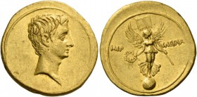 Octavian, 32 – 29 BC. Aureus, Brundisium and Roma (?) 29-27, AV 7.79 g. Bare head r. Rev. IMP – CAESAR Victory standing facing on globe, head l. and w...