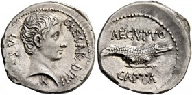 Octavian, 32 – 29 BC. Denarius, uncertain Eastern mint 28, AR 3.86 g. CAESAR·DIVI F· – COS·VI Bare head r.; below neck, small capricorn. Rev. AEGVPTO ...