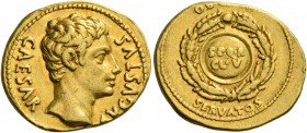 Octavian as Augustus, 27 BC – 14 AD. Aureus, Colonia Patricia 19, AV 7.79 g. CAESAR – AVGVSTVS Bare head r. Rev. OB CIVIS / SERVATOS Shield, inscribed...