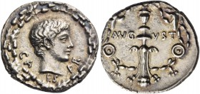 Octavian as Augustus, 27 BC – 14 AD. Denarius, uncertain mint circa 17, AR 3.72 g. CAESAR Bare youthful head r.; all within oak-wreath. Rev. AVG – VST...