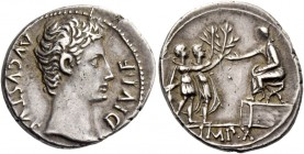 Octavian as Augustus, 27 BC – 14 AD. Denarius, Lugdunum 15-13, AR 3.88 g. AVGVSTVS – DIVI·F Bare head r. Rev. Two soldiers (or Drusus and Tiberius) wi...