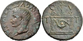 Octavian as Augustus, 27 BC – 14 AD. Divus Augustus. Bronze Tarraco after 15, Æ 25.46 g. DIVVS AVGVSTVS PATER Radiate head l. Rev. Altar decorated wit...