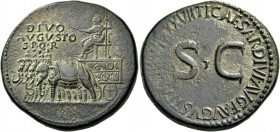 Octavian as Augustus, 27 BC – 14 AD. Divus Augustus. Sestertius 35-36, Æ 27.41 g. DIVO / AVGVSTO / S P Q R Quadriga of elephants carrying figure of Au...