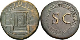 Octavian as Augustus, 27 BC – 14 AD. Divus Augustus. Sestertius 36-37, Æ 30.46 g. Hexastyle temple with flanking wings; statue of Concordia seated wit...