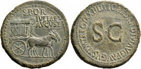 In name of Livia, wife of Augustus. Sestertius circa 22-23, Æ 27.91 g. S P Q R / IVLIAE AVGVST Carpentum with ornamented sides drawn r. by two mules. ...