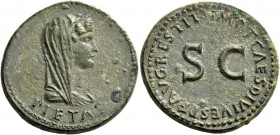 In name of Livia, wife of Augustus. Dupondius 80-81 AD, Æ 13.95 g. PIETAS Veiled and diademed bust of Pietas r. Rev. IMP T CAES DIVI VESP F AVG RESTIT...