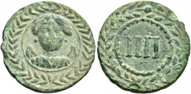 Tiberius augustus, 14 – 37. Tessera early first century BC, Æ 4.02 g. Draped bust of Victory (?) facing, within wreath. Rev. IIII within wreath.