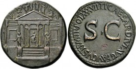 Tiberius augustus, 14 – 37. Sestertius 35-36, Æ 25.57 g. Hexastyle temple with flanking wings; statue of Concordia seated within, holding patera in r....