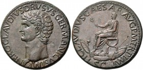In the name of Nero Claudius Drusus, brother of Tiberius and father of Claudius. Sestertius 41-42, Æ 27.89 g. NERO CLAVDIVS DRVSVS GERMANICVS IMP Bare...