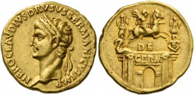 In the name of Nero Claudius Drusus, brother of Tiberius and father of Claudius. Aureus 41-45, AV 7.83 g. NERO CLAVDIVS DRVSVS GERMANICVS IMP Laureate...