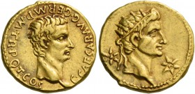 Gaius augustus, 37 – 41. Aureus, Lugdunum 37-38, AV 7.79 g. C CAESAR AVG GERM P M TR POT COS Bare head of Gaius r. Rev. Radiate head of Augustus (or T...