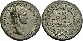 Claudius augustus, 41 – 54. Sestertius circa 41-50 and later, Æ 28.27 g. TI CLAVDIVS CAESAR AVG P M TR P IMP Laureate head r. Rev. EX S C / OB / CIVES...