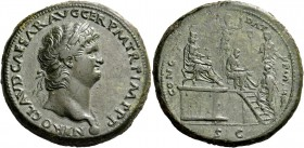 Nero augustus, 54 – 68. Sestertius, Lugdunum circa 65, Æ 28.51 g. NERO CLAVD CAESAR AVG GER P M TR P IMP P P Laureate head r., with globe at point of ...