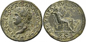 Nero augustus, 54 – 68. Dupondius, Lugdunum circa 67, Æ 15.06 g. IMP NERO CAESAR AVG P MAX TR P P P Laureate head l., with globe at point of bust. Rev...