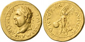 Vitellius, April –December 69. Aureus, Tarraco (?) 2 January – 18 April 69, prior to the Senate's award of the title of Augustus. AV 7.38 g. A VITELLI...