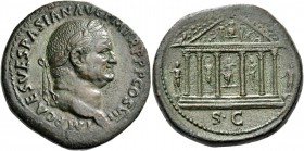 Vespasian, 69 – 79. Sestertius 76, Æ 26.59 g. IMP CAES VESPASIANVS AVG P M TR P P P COS VII Laureate head r. Rev. The temple of Jupiter Optimus Maximu...