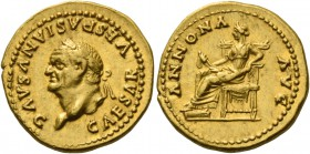 Vespasian, 69 – 79. Aureus 77-78, AV 7.25 g. CAESAR VESPASIANVS AVG Laureate head l. Rev. ANNONA – AVG Annona seated l., holding bundle of ears of cor...