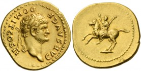 Domitian caesar, 69 – 81. Aureus 73, AV 7.39 g. DOMIT COS II – CAES AVG F Laureate and bearded head r. Rev. Domitian on horse rearing l., raising r. h...