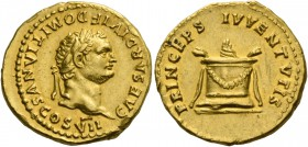 Domitian caesar, 69 – 81. Aureus 80-81, AV 7.29 g. CAESAR DIVI F DOMITIANVS COS VII Laureate head r. Rev. PRINCEPS IVVENTVTIS Garlanded and lighted al...