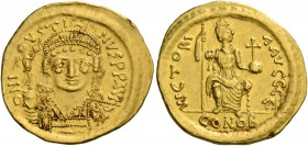 Justin II, 15 November 565 – 5 October 578. Solidus 565-578, AV 4.37 g. D N I – VSTI – NVS P P AVG Helmeted, pearl-diademed and cuirassed bust facing,...