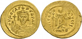 Phocas, 23 November 602 – 5 October 610. Solidus 607-610, AV 4.51 g. d N FOCAS – PERP AVC Draped and cuirassed bust facing, wearing crown and holding ...