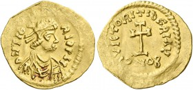 Revolt of the Heraclii, Summer 608 – 5 October 610. Tremissis, Eastern military mint 609-610, AV 1.30 g. DN Tib – RI PP AY Diademed, draped and cuiras...