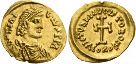 Heraclius, 5 October 610 – 11 January 641, with colleagues from January 613. Tremissis, uncertain Italian mint 610-641, AV 1.48 g. d N herAC – lIV PP ...