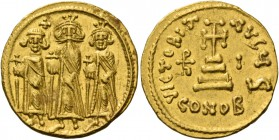 Heraclius, 5 October 610 – 11 January 641, with colleagues from January 613. Solidus 636-637, AV 4.43 g. Heraclius, Heraclius Constantine and Heraclon...