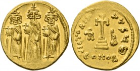 Heraclius, 5 October 610 – 11 January 641, with colleagues from January 613. Solidus circa 638–639, AV 4.44 g. Heraclius, with long beard, standing fa...