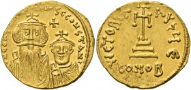 Constans II, 641 – 668 and associate rulers from 654. Solidus 654-659, AV 4.37 g. d N CONSTANTINЧS C CONSTANT Facing busts of Constans on l. and Const...