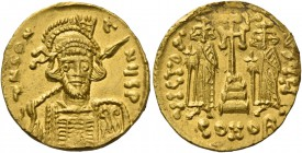 Constantine IV, Pogonatus 13 April 654 – 10 July 685. Solidus, 674-681, AV 4.45 g. d N CO• – ANY P P Helmeted and cuirassed bust facing three-quarters...