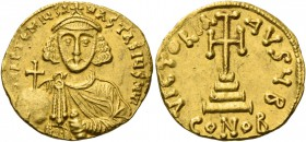 Anastasius II Artemius, 3 June 713 – 715. Solidus 713–715, AV 4.35 g. d N APTEMIЧS A – NASTASIЧS MYL Facing bust, wearing crown with cross on circlet ...