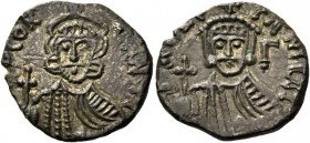 Constantine V Copronymus, 741 – 775 and Leo IV from 751. Solidus, Rome 764-765, billon 3.61 g. DNO CONS – TANTI Crowned facing bust of Constantine V, ...