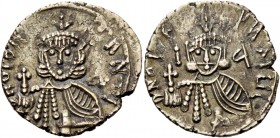 Constantine V Copronymus, 741 – 775 and Leo IV from 751. Solidus, Rome 751-775, AV 3.61 g. DNO CONS – TANTI Crowned facing bust of Constantine V, hold...