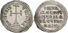 Michael II the Armorian, 25 December 820 – 2 October 829, with Theophilus from May 821. Miliaresion 821-829, AR 2.12 g. +MIXA / HL SΘΕΟFI / LEECΘΕY / ...