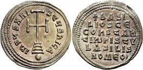 Basil the Macedonian, 27 September 867 – 29 August 886, with colleagues from 870. Miliaresion 868-879, AR 2.76 g. +bASI / LIOS CE / COhSTAh / tIN PISt...