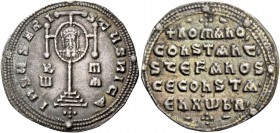 Constantine VII Porphyrogenitus, 913 – 959, with Romanus I Lacapenus, 920 – 944, and colleagues from 921. Miliaresion 931-944, AR 2.59 g. IhSuS XRISTu...