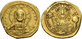 Constantine IX Monomachus, 11 June 1042 – 11 January 1055. Tetarteron 1042-1055, AV 3.99 g. + his XIS REX REGNANTIhm Facing bust of Christ, nimbate, r...